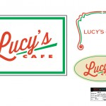 Lucy's Cafe logo, sticker, & neon sign for the television series, 'King & Maxwell (Season 1)'