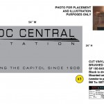 "DC Central brushed chrome cover-up sign for the television series, ""King & Maxwell (Season 1)."""
