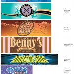Warriors - Pop Machine Labels - Torpedo Soda, Super Fizz Soda, and Booster Soda Designs by Chad Kerychuk. - Other designs including  JT Cola, JT Root Beer, and Benny's Cream Soda designs are rebuilds based on files provided by Props/Set Dec: Graphic Designer Unknown